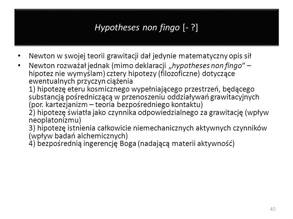 Hypotheses non fingo [- ]